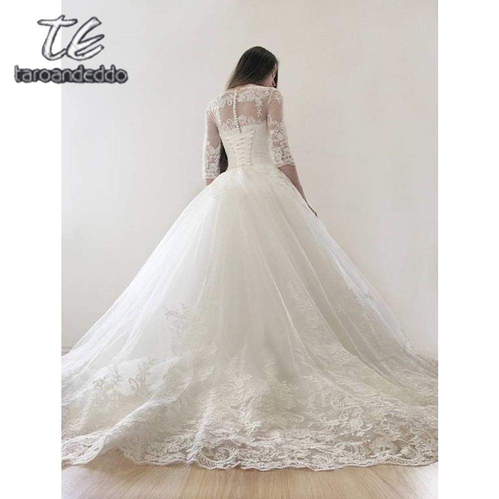 Scoop Wedding Dresses Quarter Sleeves Applique Tulle Illusion Floor Length Sweep Train Bridal Ball Gown Dress Vestido De Noiva