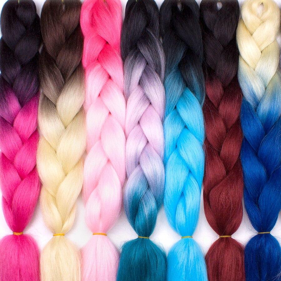 24 дюйм(ов) ов) два тона синтетический канекалон волокно Ombre Jumbo косы твист вязаный крючком плетение прическа 100 г/шт.