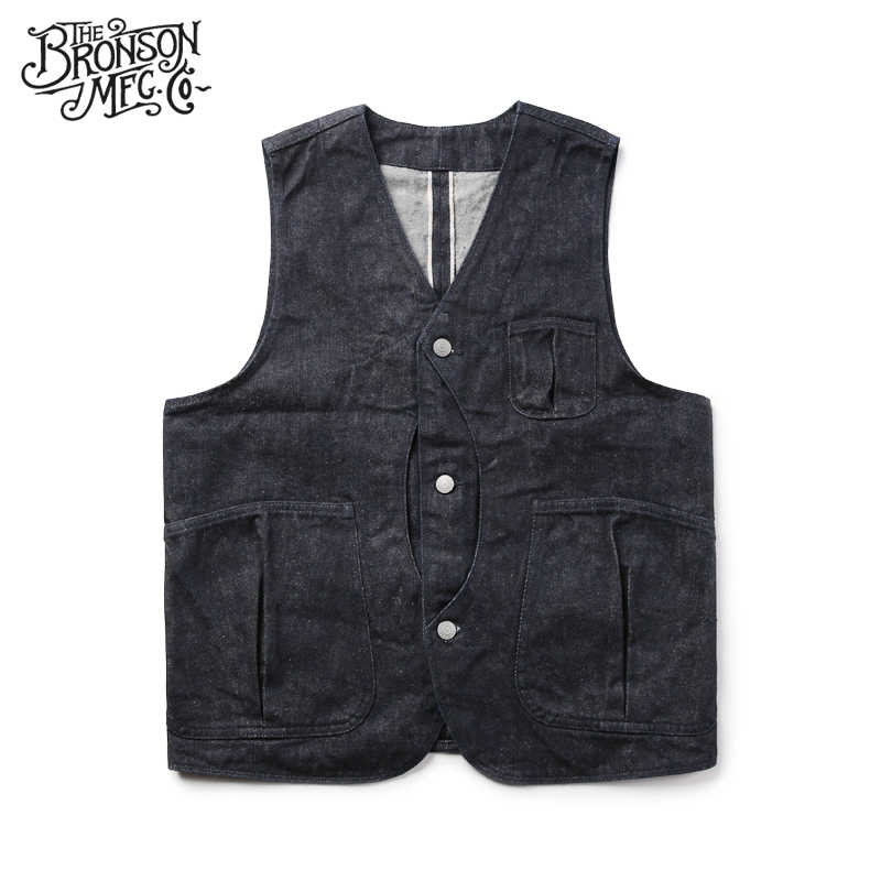 Bronson Denim Magic Pocket vest men's tide vest pocket Vests