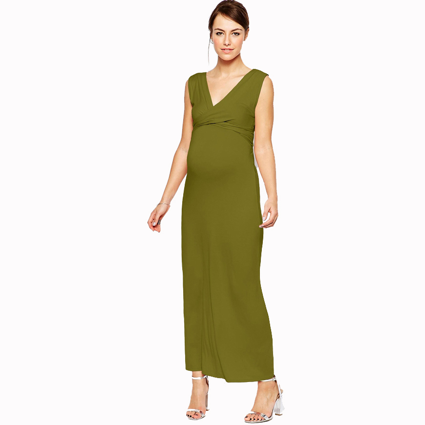 Front Deep V Neck Criss-cross Maternity Maxi Dress Sleeveless Long Pink Green Wedding Evening Dress for Working Pregnant Women