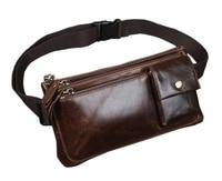 Men Oil Wax Genuine Leather Cowhide Vintage Hip Bum Belt Pouch Fanny Pack Waist Wallet Purse Clutch Bag Travel Motorcycle Bags