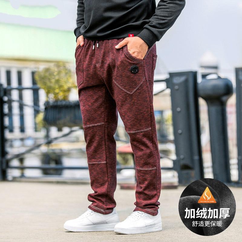 2018 Winter New Plus Size Men's Clothing Casual Pants Loose Plus Velvet Stitching Sports Pants Thick Warm Pants Streetwear Mens
