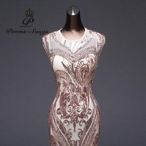 Image 4 - Vestido de noche de sirena de lujo, nuevo estilo, de lentejuelas, de fiesta, Sexy, sin espalda, largo
