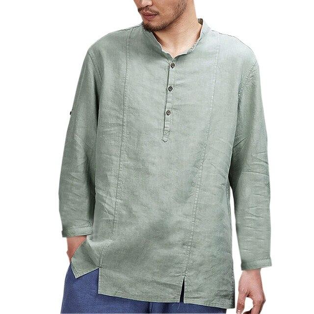 12511a5630b Mens Cotton Linen Shirts Casual Long Sleeve Stand Neck Tops Loose Blouse  men clothes 2018 men shirt short sleeve hawaiian