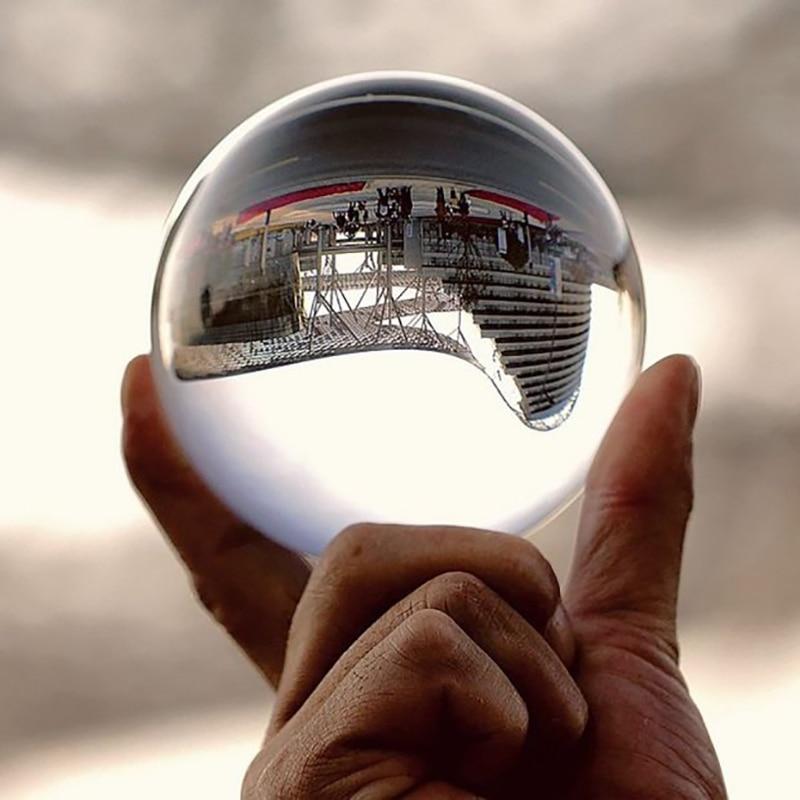 Fotografía clara bola de cristal 60mm 80mm 100mm canicas bolas Feng shui decoración esfera mágica globo oficina Presse de papie