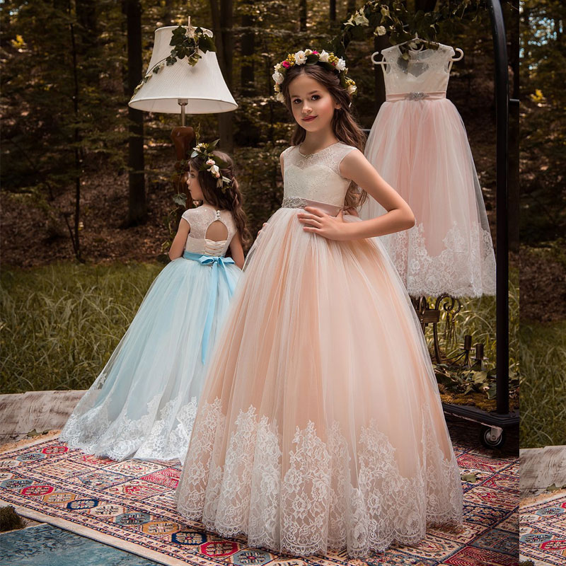 Stunning Sleeveless Lace Appliques Flower Girls Dress Keyhole Back Lace Up Kids Ball Gown for Pageant Lace Tulle Girl Prom Dress gorgeous lace beading sequins sleeveless flower girl dress champagne lace up keyhole back kids tulle pageant ball gowns for prom