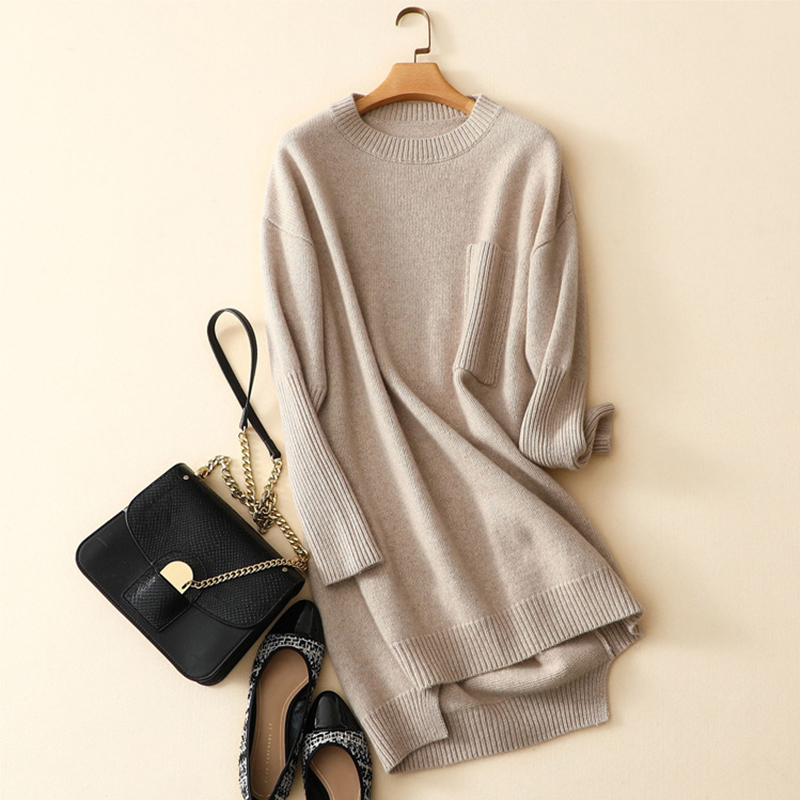 Womens Dresses New Arrival 2019 Autumn Winter Thick Cashmere Wool Dress O Neck Rib Knitting Long