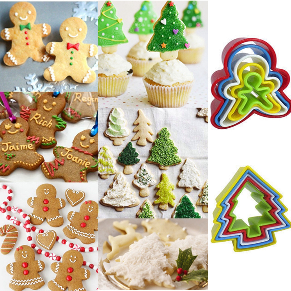 5pcs supplies cookie ginger bread man baking mold decoration christmas tree biscuit fondant cake cutter set in cake molds from home garden on - Christmas Cookie Decorating Supplies