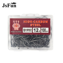 JSFUN 100pcs font b Box b font Size 4 12 High Carbon Steel Fishing Hooks Jig