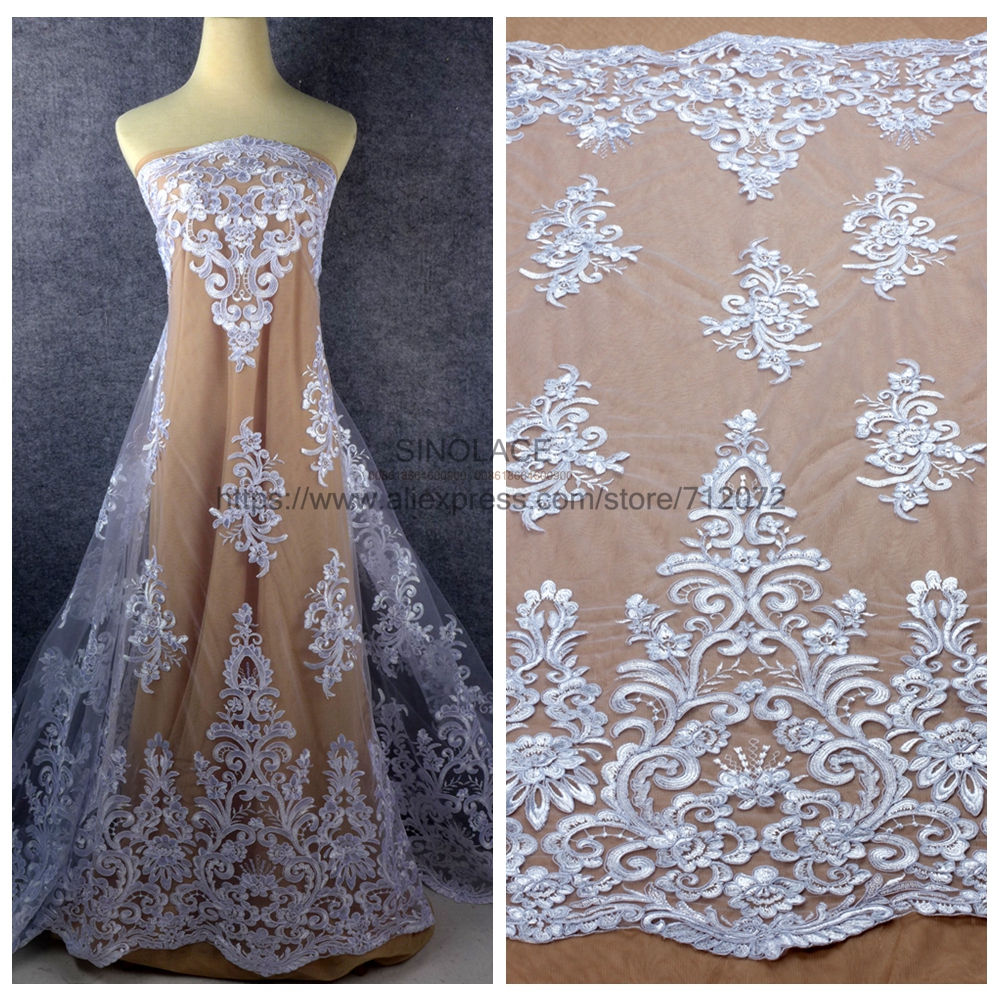 La Belleza Off white pure white polyester sequins cord embroidered wedding dress lace fabric 47 width