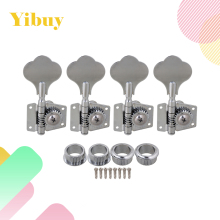 Yibuy 4R Chrome Bass Guitar Machine Heads Tuners / Elephant ear button