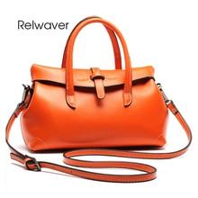 Relwaver genuine leather handbag top handle bag women leather handbags real leather head layer cowhide shoulder bags women bag