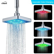 Cheen 6 Inch Square 3 Colors Changing Water Temperature Sensor LED Shower Head  Top Sprayer Bathroom Showerheads hydropower square led color changing shower head for bathroom