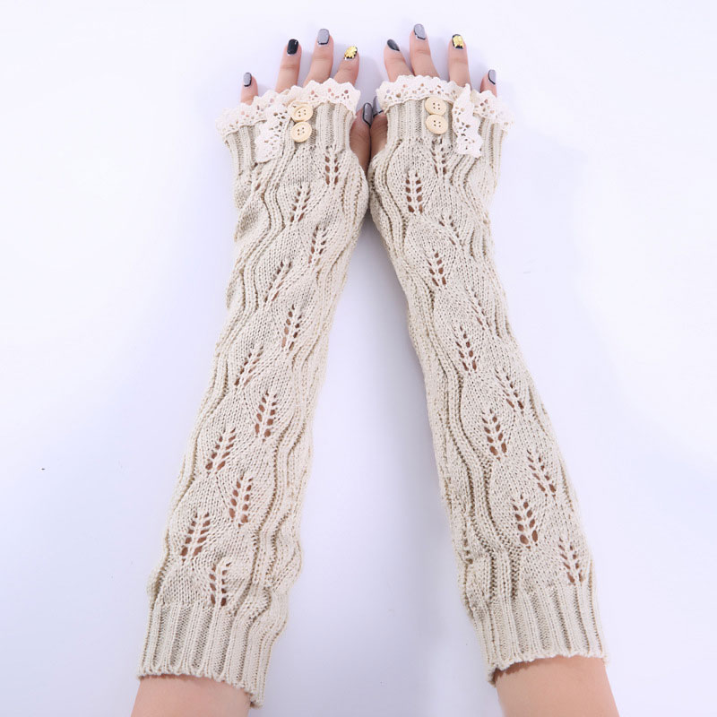 1pair Fashion Ladies Winter Arm Warmer Fingerless Gloves Lace Button Knitted Long Warm Gloves Mittens For Women  LXH