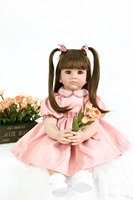 24inch Silicone Dolls Reborn Baby Alive Fake Baby Doll Best Toys for Children handmade bebe alive longhair princess toddlers