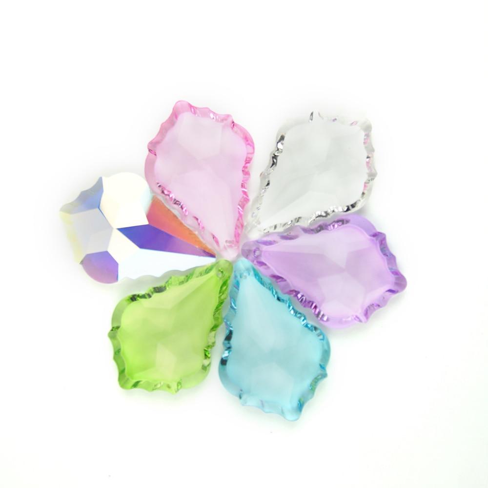 Sales 63mm Mix Color 30pcs Maple Leaf Lamp Parts DIY Suncatcher For Hanging Lighting Decoration