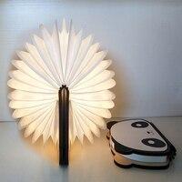 Portable USB Rechargeable LED Wooden Folding Mini Book Shape Light Desk Night Lamp for Living Room Christmas Decor