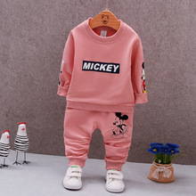 Фотография 2017 New Fashion 2pcs Children Clothes Set Casual Mouse Cartoon Knitted Pink Tops+ Pink Pants Kids Clothing Set for Boys