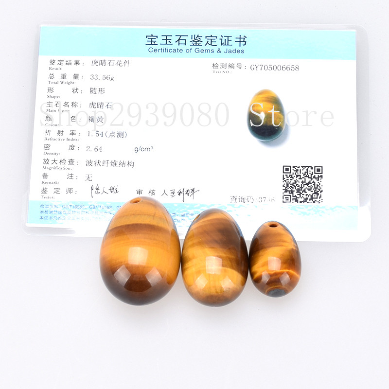 100% Natural Tiger Eye Yoni Egg Telur Gemstone Jade Jade Telur untuk - Penjagaan kesihatan - Foto 2