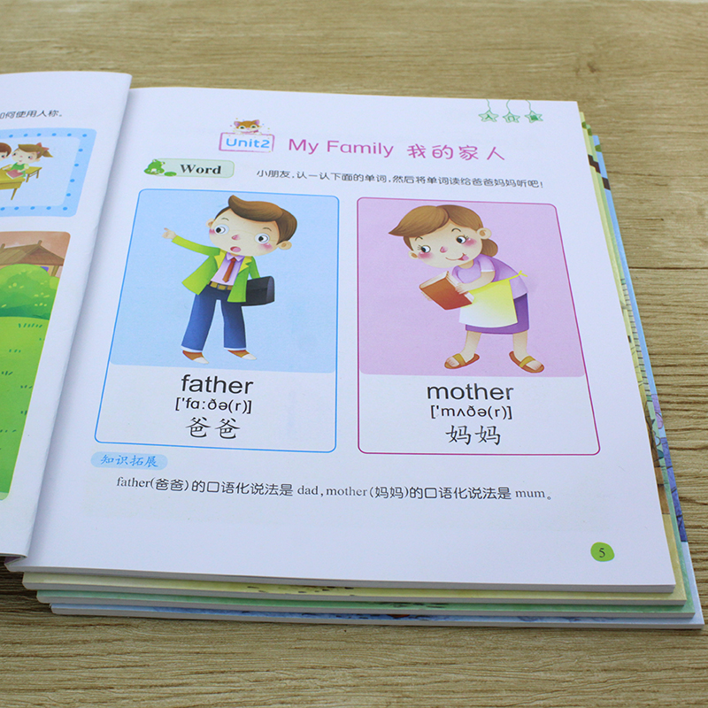 4Books Childhood English Enlightenment Early Teaching Textbook Baby Children Zero Based Getting Start Learn English Chinese Book
