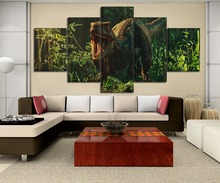 Jurassic World Movie Paintings on Canvas Wall Art for Home Decor Painting HD Printed Poster 5 Piece