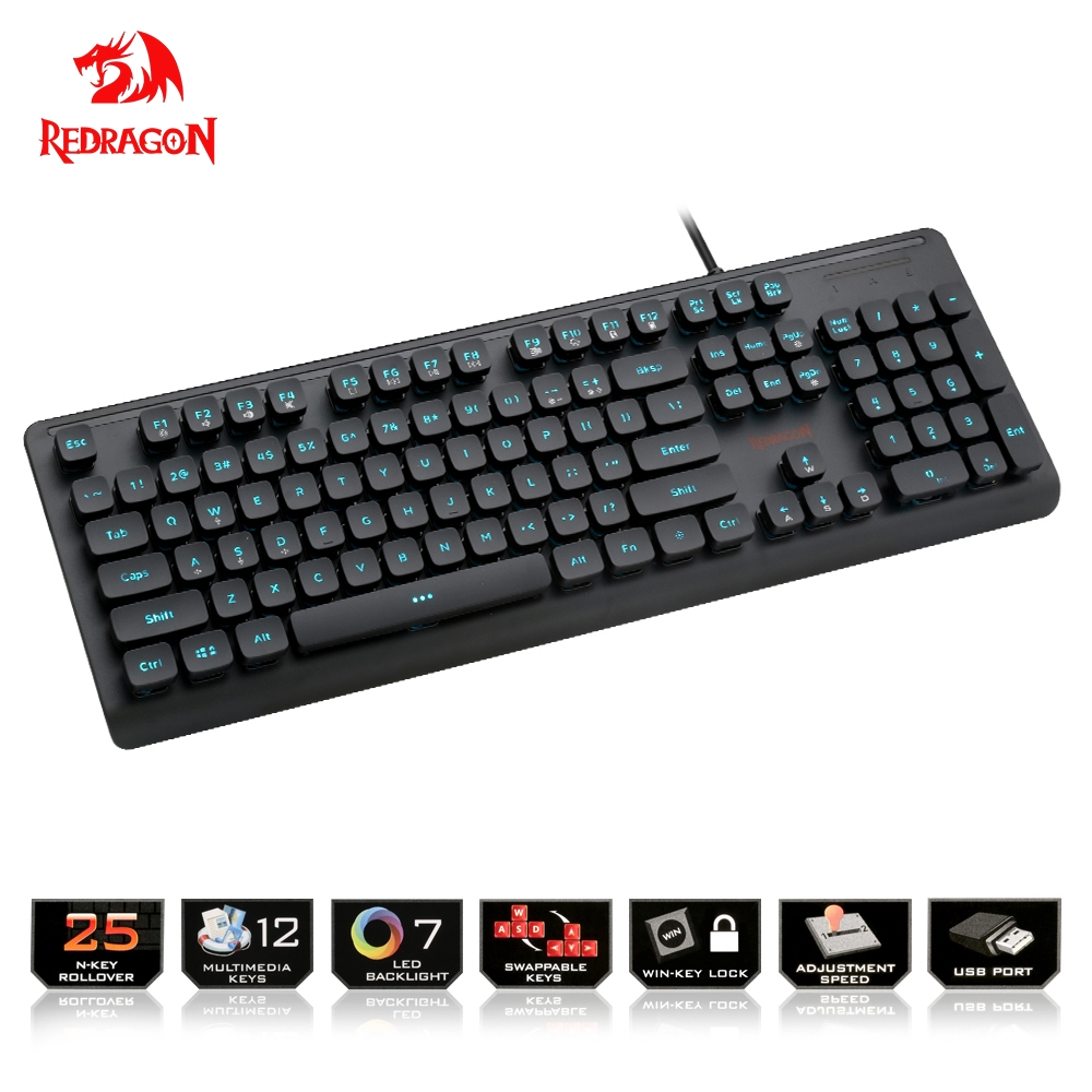 Redragon USB gaming Membrane keyboard ergonomic 7 color LED backlit keys Full key anti ghosting 104