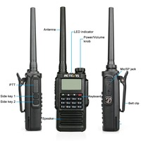 band vhf uhf Retevis RT87 מקצועי IP67 Waterproof מכשיר הקשר 5W 128CH VHF UHF Dual Band מערבל VOX FM שני הדרך רדיו ווקי טוקי (4)