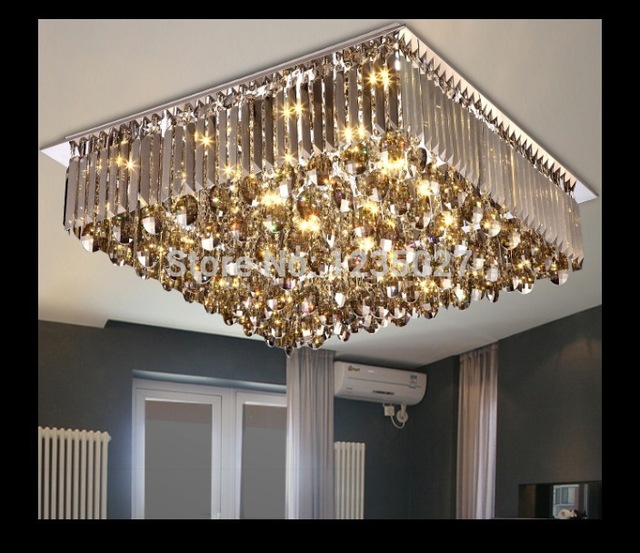 Newly Modern Led Crystal Ceiling Lamp Square And Round Chandelier Flush Mount Lighting For