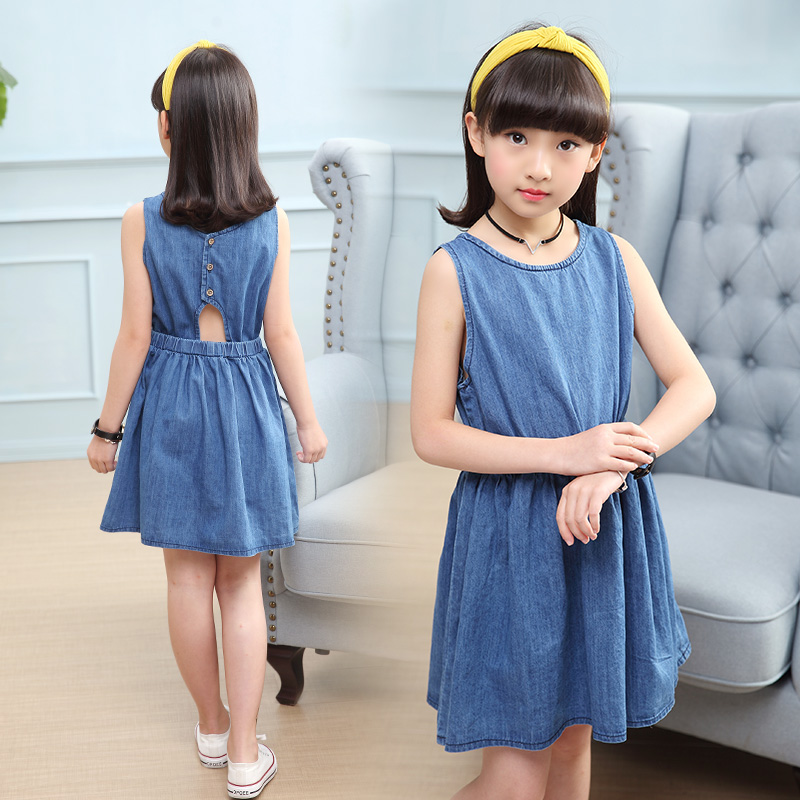 3da37d39d9d9 JMFFY Girls Dress Denim Blue Cowboy Cotton 2018 Summer Princess Girl  Wedding Party Dresses Kids Clothes 4 15T Sleeveless Toddler-in Dresses from  Mother ...