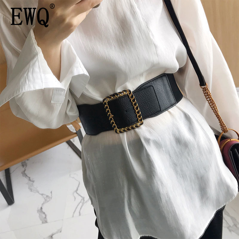 [EWQ] 2019 Summer New 	 Solid Color Belt Female Buckle Dress Decorative Black Elastic Wide Belt Shirt Corset Ladies Girdle QG552