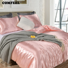 COMFEEL Solid Silk Bedding Set Luxury Comforter Duvet Cover Pillowcases Princess Pink Twin Size Kids Bed Sheet Smooth Quilt Sets