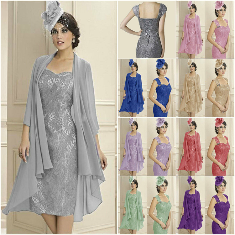 Plus Size Mermaid Lace Formal Mother Of The Bride Dress Outfits With Jacket Knee Length Off The Shoulder