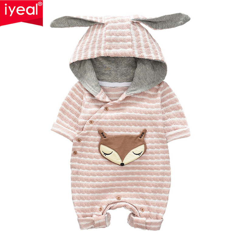 IYEAL Newborn Baby Clothes Cute Ears Hooded Fox Pattern Kids Infant Romper Toddler Boys Girl Long Sleeve Jumpsuits Baby Clothing 2018 real new baby romper baby girl clothing winter rompers infant cute floral clothes newborn toddler spring autumn jumpsuits