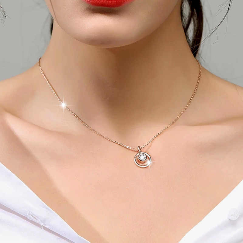 SINLEERY klasyczne koło okrągły naszyjnik z cyrkoniami różowe złoto kolor krótki łańcuszek dla kobiet biżuteria Xl689 SSD