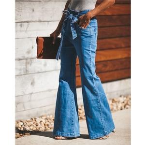 Image 2 - Jeans svasati in vita con cravatta blu pantaloni Slim in Denim da donna abiti Vintage 2019 pantaloni a vita alta primavera Jeans elasticizzati con cintura a gamba larga