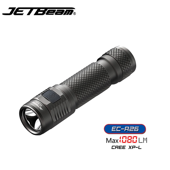 Jetbeam EC-R26 Cree XPL 1080 lumens  Led Flashlight Recharger with Micro USB Port  by 18650 Battery for Self Defense niteye ec r26 cree xpl 1080lm rechargeable led flashlight torch