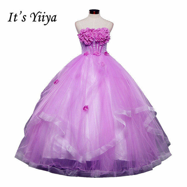 f54892f6964d9 Ücretsiz kargo yeni 2017 Vestidos De Novia prenses straplez çiçekler  romantik düğün elbise gelin abiye düğün
