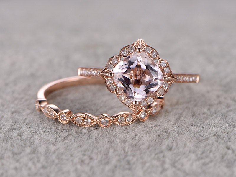 Ring For Women 2pcs 1 5 CT Morganite Engagement Ring 14k Rose Gold