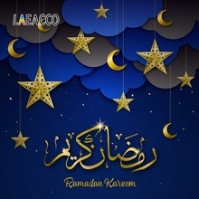 Laeacco Ramadan Kareem Eid Mubarak Crescent Wreaths Scene Photographic Background Seamless Photography Backdrop For Photo Studio
