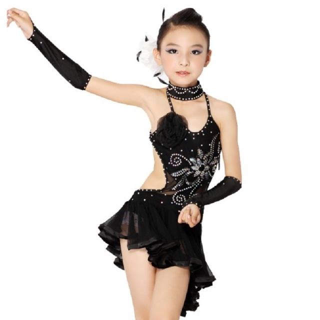 Naked Preteen Girls Galleries Latin Competition Dance Wear Sale Black Sexy Tango Dress -3284