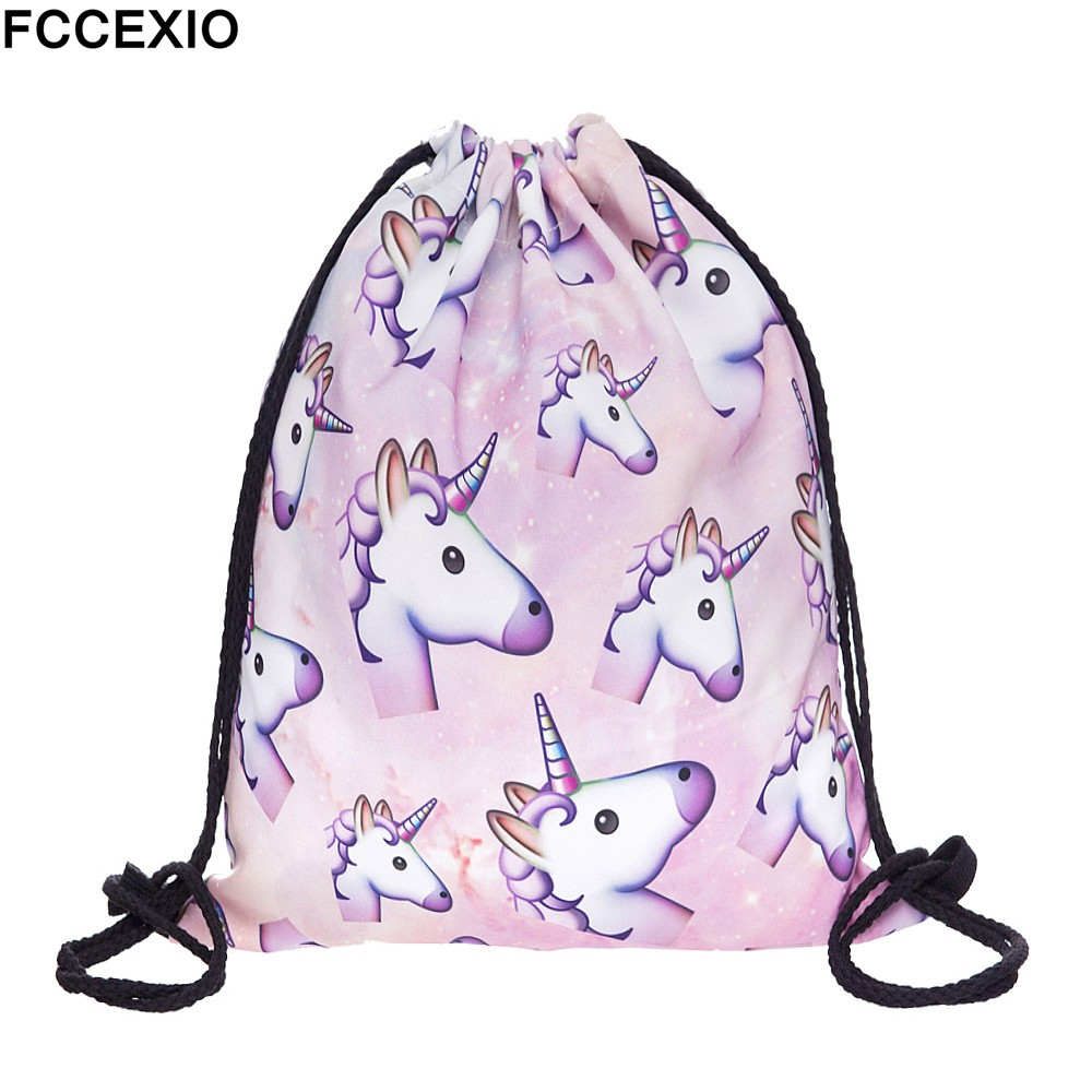 FCCEXIO Cartoon Rainbow Unicorn Women Drawstring Bags Brand 3D Printed Backpacks Pink Mochila Feminina Girls Travel School Bag