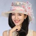 Новая Мода Лето Женщины женские Широкий Большой Брим Floppy Пляж Hat Вс шелковый цветок Флоппи Cloche котелок Cap женщины