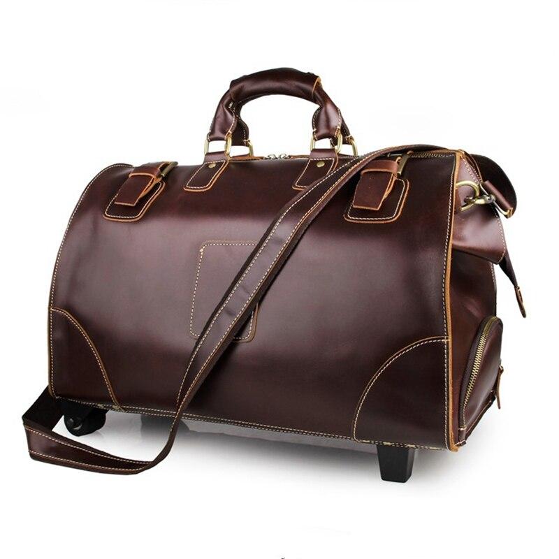 Aliexpress.com : Buy Baigio Mens Leather Travel Bag Overnight ...