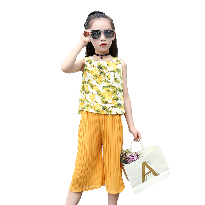 Kids Clothes Sets Sleeveless Mango T-shirts & Pants 2018 Summer Chiffon Outfits For Girls Clothing Sets 2 3 4 5 7 9 11 12 Years