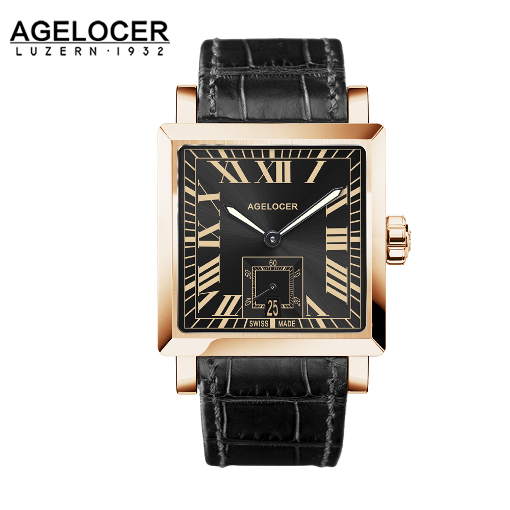 Agelcoer Golden Case Luxury Business Automatic watch Roman Numerals Display Mechanical Black Men 100% Leather Waterproof 50m original bansdon authentic leather automatic mechanical men s watch fashion watch waterproof roman calendar man luxury business