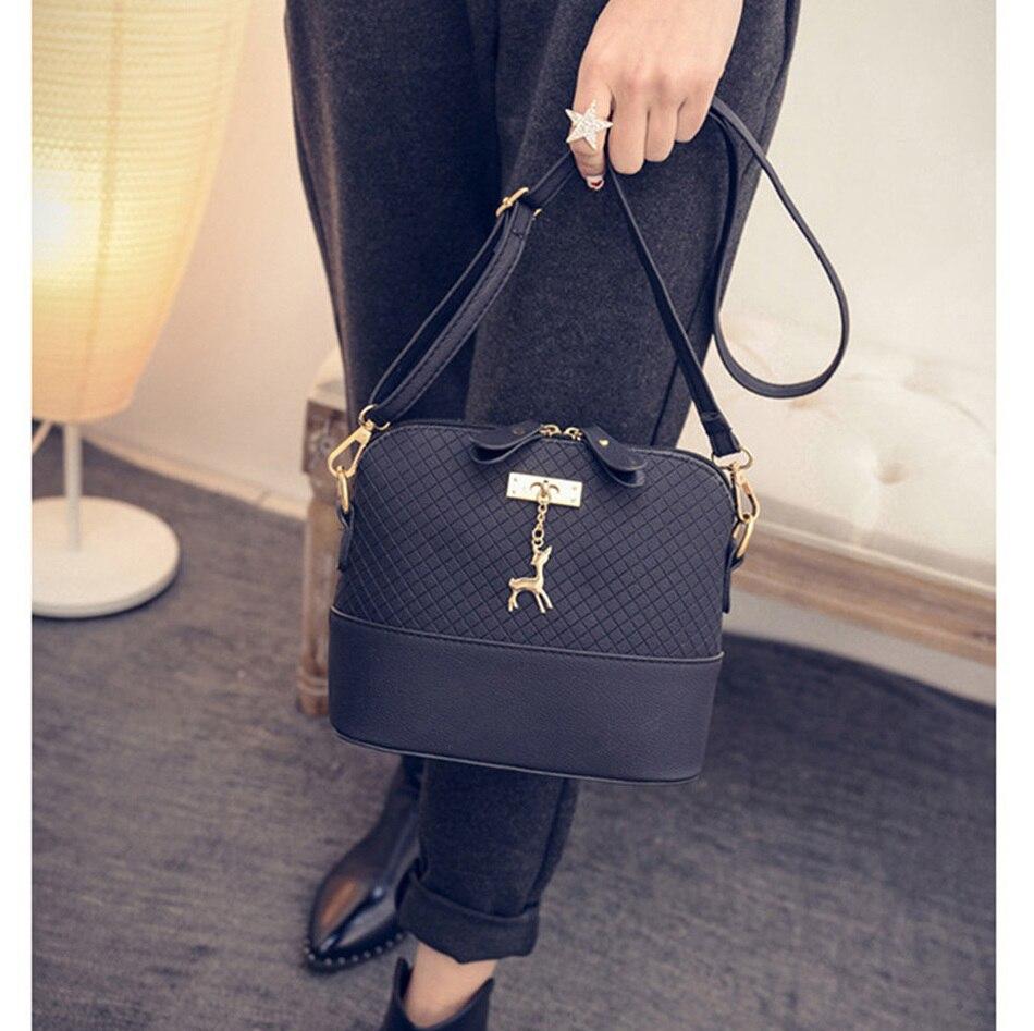 2017 Women Shoulder Messenger Bags Kawaii Mini Bag With Deer Toy Small Clutch Phone Bag Girls Shell Shape Leather Plaid Handbags