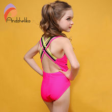 9cd43fcbe335e Andzhelika 2017 Swimsuit Girls One Piece Swimwear Solid Bandage Bodysuit  Children Beachwear Sports Swim Suit Bathing Suit AK8675