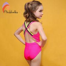 Andzhelika Swimsuit Girls One Piece Swimwear Solid Bandage Bodysuit Children Beachwear Sports Swim Suit Bathing Suit AK8675