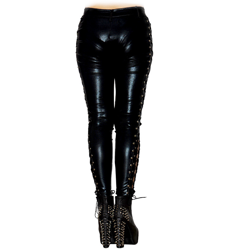 Sexy Women Faux Leather Long Pants Laced Up Punk Rock Leggings Heavy Metal Low Waist Bandages Quality Nightclub Women Pants