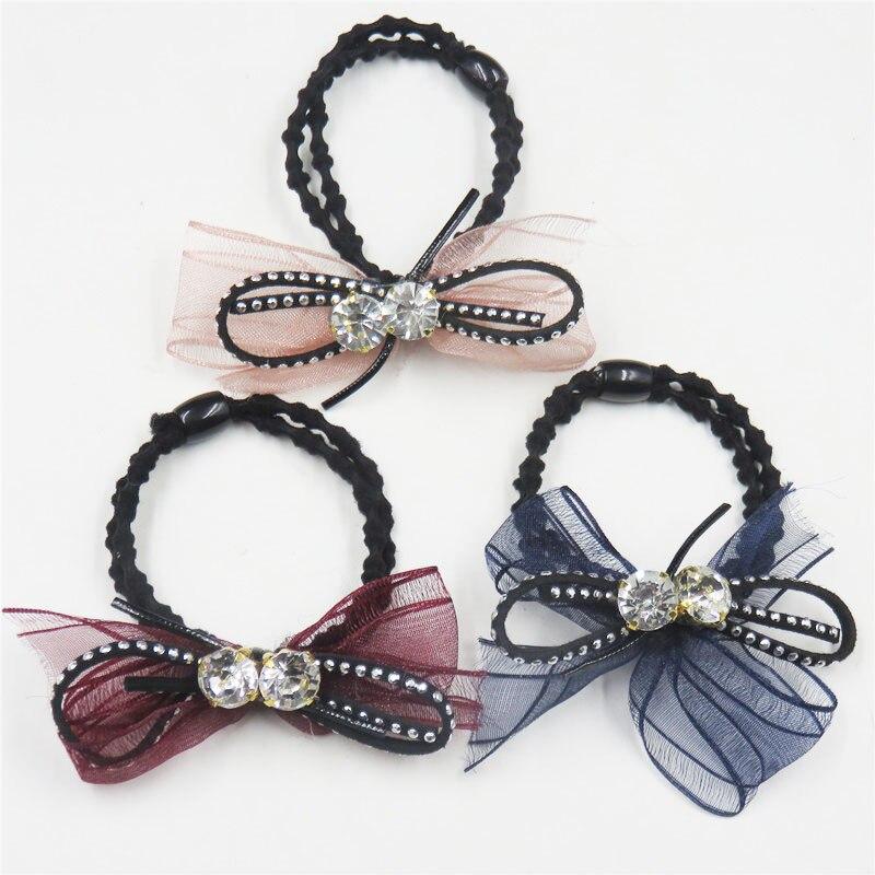 1PCS Creative 2 Diamond Ribbon Bow Elastic Hair Bands For Girls Bohemian Scrunchy Hair Ties Kids Hair Accessories For Women 2018 girl